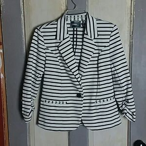Christian Siriano Black and White Striped Jacket